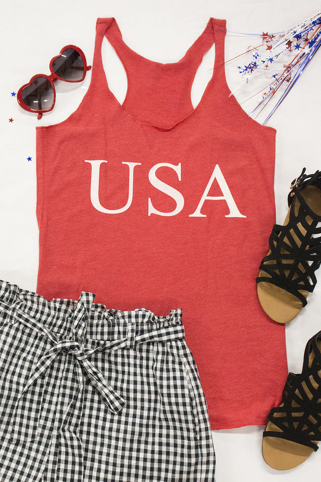 Classic USA Red Graphic Tank