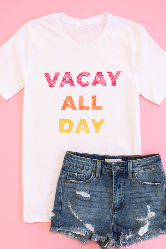 Tropical Vacay All Day White Graphic Tee
