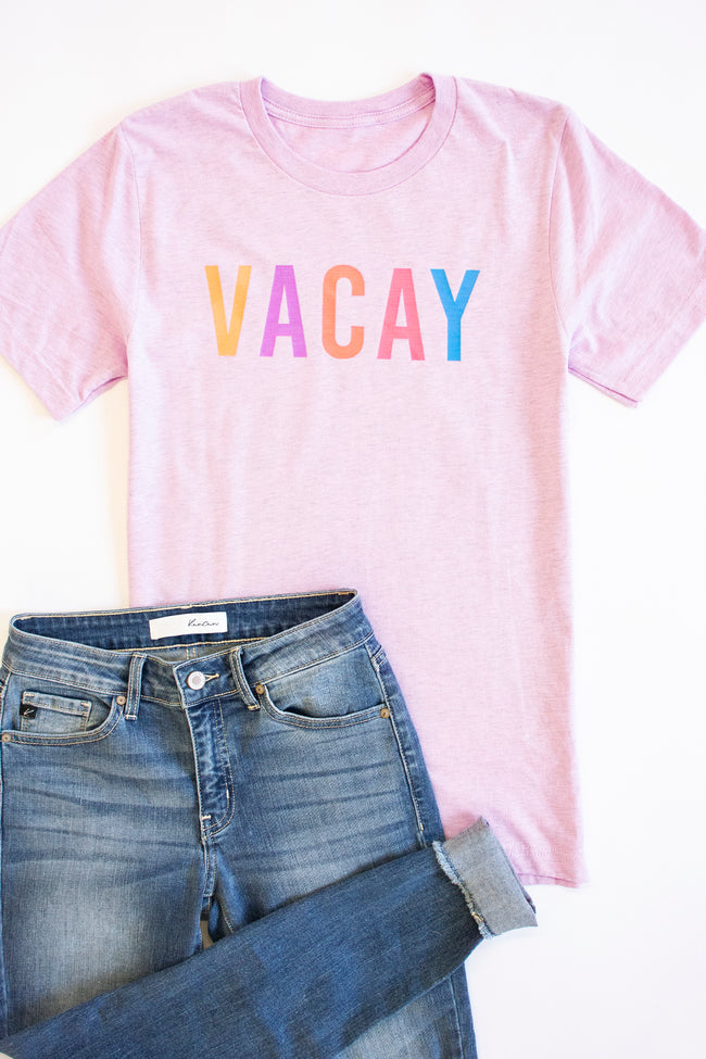 Vacay Graphic Tee Heather Prism Lilac