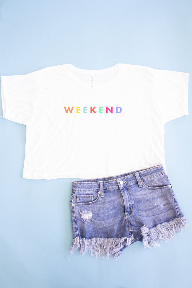 Weekend Rainbow Cropped Graphic Tee