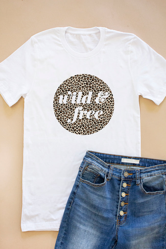 Wild And Free Animal Print White Graphic Tee