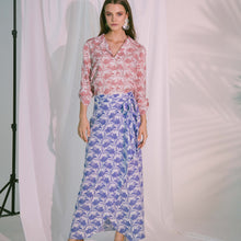Load image into Gallery viewer, Virtue Wrap Skirt in Blue Biro