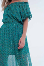 Load image into Gallery viewer, Off Shoulder Tiered Maxi Green Dress in Chevron Print
