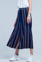 Load image into Gallery viewer, Navy Blue Striped Midi Skirt