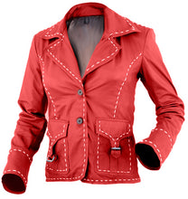 Load image into Gallery viewer, Red Women White Border Leather Jacket