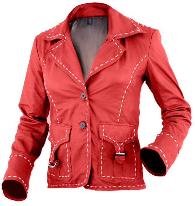 Red Women White Border Leather Jacket