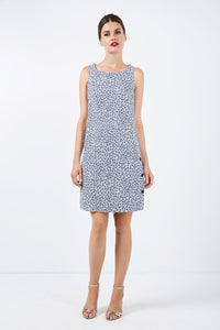 Sleeveless Floral a Line Dress With Button Detail