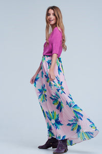 Pink Pleated Maxi Skirt  With Flower Print