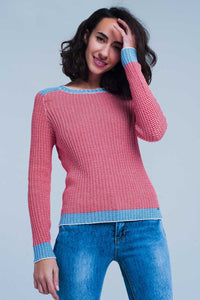 Rib Stitch Sweater With Blue Edge in Red