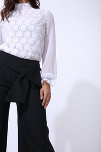 Swan Wide Leg Trousers With Tie Feature in Classic Black