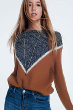 Load image into Gallery viewer, Chevron Color Block Sweater in Camel