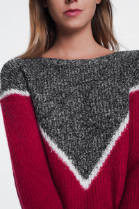 Chevron Color Block Sweater in Red