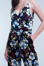 Load image into Gallery viewer, Navy Jumpsuit With Floral Pattern