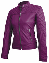 Load image into Gallery viewer, Women Purple Quilted Leather Jacket
