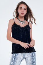 Load image into Gallery viewer, Black Soft Velvet Cami Top