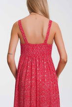 Load image into Gallery viewer, Tie Front Midi Red Dress in Floral Print