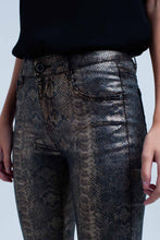 Load image into Gallery viewer, Gold Skinny Pants in Snake Print