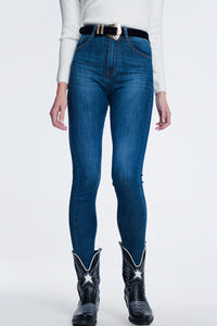 High Waisted Super Skinny Jeans in Blue