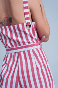 Red Belted Striped Jumpsuit