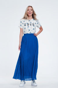 Maxi Pleated Skirt in Blue