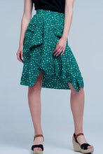 Load image into Gallery viewer, Green Skirt With Flower Print