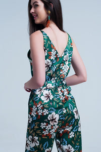 Green Jumpsuit With Floral Print