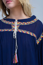 Load image into Gallery viewer, Embroidered Navy Blouse