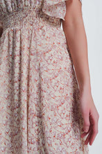 Load image into Gallery viewer, Beige Dress With Floral Print and v Neck