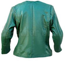 Load image into Gallery viewer, Green Collarless Women Leather Jacket