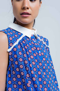 Blue Top With Geo Print and Fringed Detail