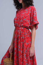 Load image into Gallery viewer, Red Flower Printed Maxi Dress