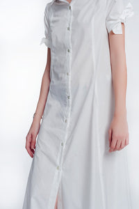 Short Sleeve Poplin White Dress Buttoned Down
