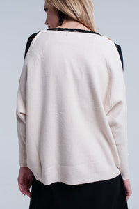 Pink Pale Knitted Sweater With Pearl Detail