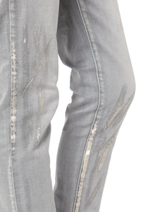 Gray Paint Splatter Skinny Jeans in High Quality Fabric