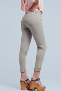 Beige Jeans With Floral Embroidery