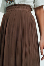 Load image into Gallery viewer, Floaty Midi Skirt With Button Front in Beige