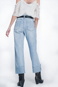 Cropped Jeans With Crystals Strass Hem Detail