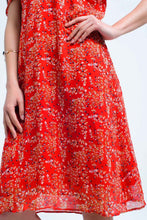 Load image into Gallery viewer, Red Dress With Printed Flowers and Ruffles