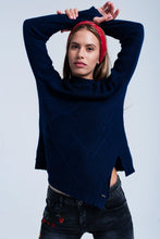 Load image into Gallery viewer, Cable Knit Navy Sweater