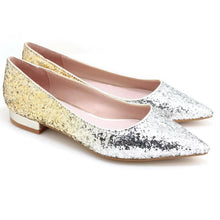 Load image into Gallery viewer, Glitter Pointed Toe Ballet Flats (S/Gold)
