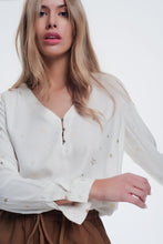 Load image into Gallery viewer, Cream Blouse With Stars Print