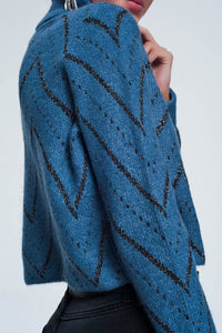 Woven Blue Turtleneck Sweater