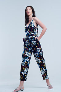 Navy Jumpsuit With Floral Pattern