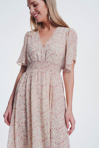 Beige Dress With Floral Print and v Neck