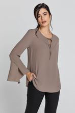 Load image into Gallery viewer, Iron Brown Flounce Sleeve Top by Conquista