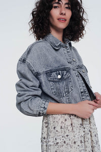 Cropped Denim Jacket in Gray