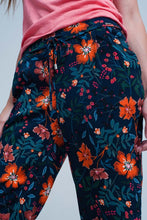 Load image into Gallery viewer, Floral Print Pants With Tie Waist