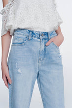 Load image into Gallery viewer, Cropped Jeans With Crystals Strass Hem Detail