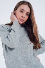 Load image into Gallery viewer, Gray Knitted Sweater Long Sleeved