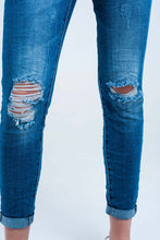 Load image into Gallery viewer, Skinny Elastic Jeans With Rips